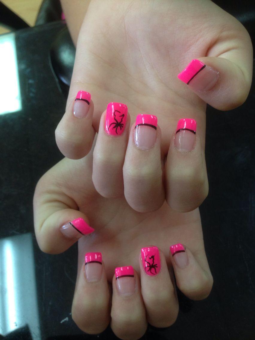 Hot pink tip nail design   Acrylic nail   Pinterest