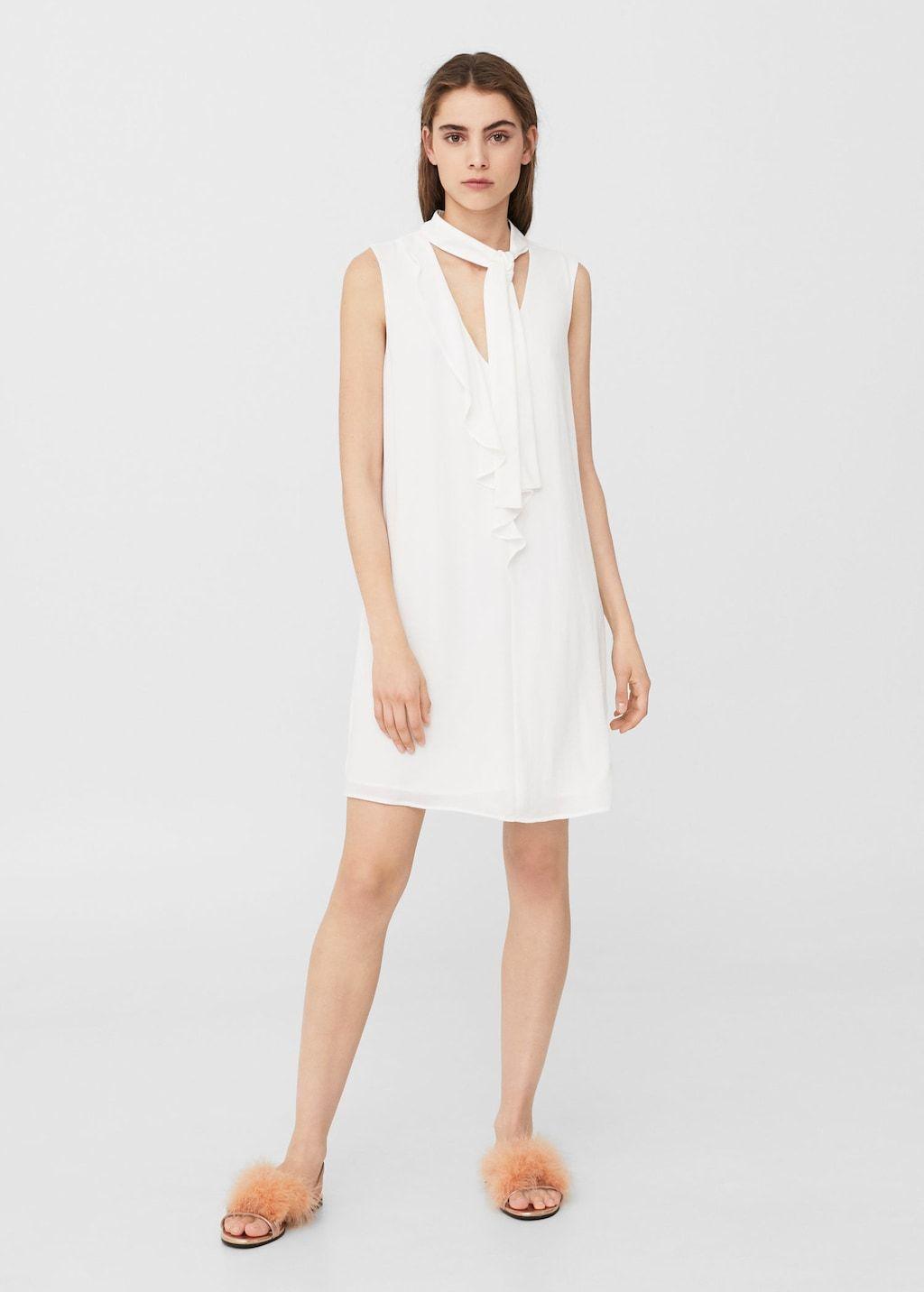 18130e336 Vestido lazo cuello - Mujer