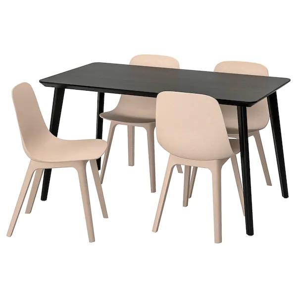 Lisabo Odger Table Et 4 Chaises Noir Beige Ikea Chaises De Table A Manger Table Et Chaises Ensemble Table Et Chaise