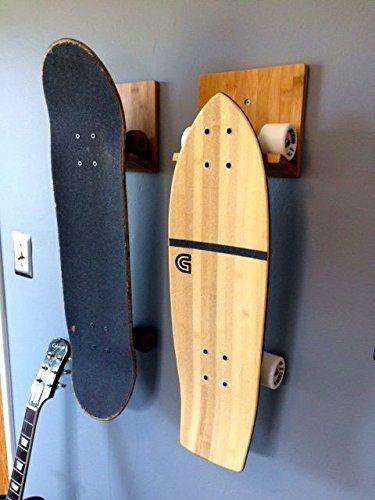 Amazon.com : Bamboo Skateboard Wall Rack/ Mount for Storing Your Skateboard  or Longboard