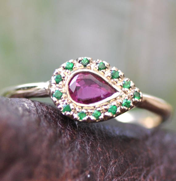 dda248dd36 14K Gold Ruby Ring , Indian Style, Teardrop Gold Ring , Solid Gold and  Gemstones , Solid Gold Ring ,