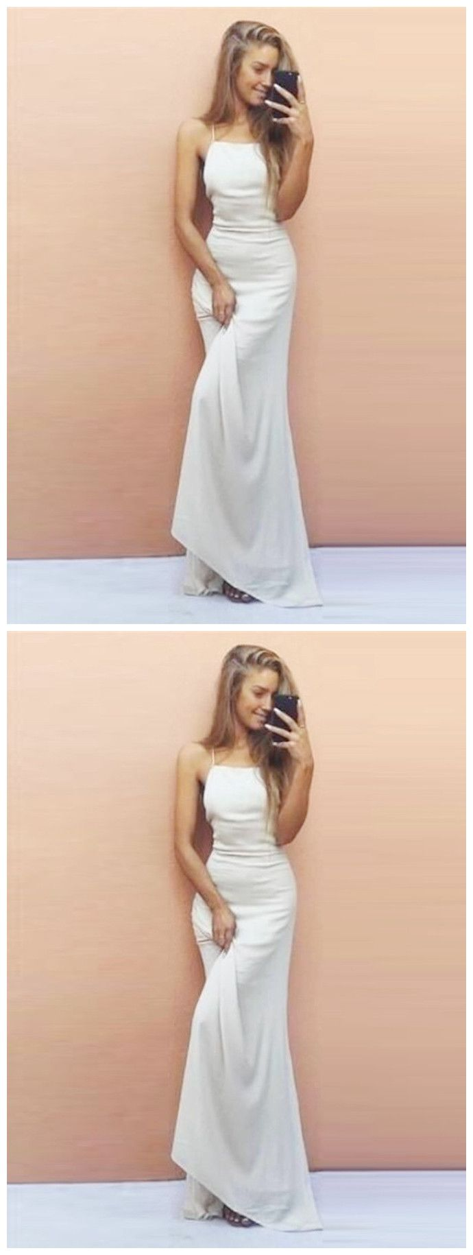 Aline floorlength white backless prom gowns chiffon prom dress