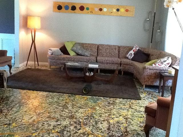 Diy Jackson Pollock Inspired Paint Splatter Floor Cost Make Affordable Decor