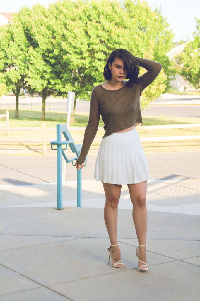 Olive top and white, pleated skirt