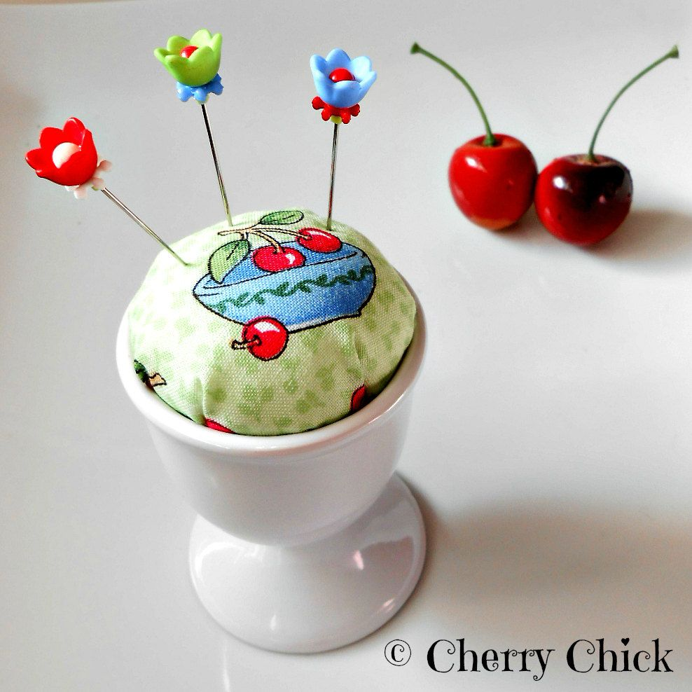 Pincushion - Cherry Pincushion - PinKeep - Decorative Pins - Gift for Seamstress - Gift for Quilters - Quilting - Sewing Pins - Cherries by DecorativeSewingPins on Etsy