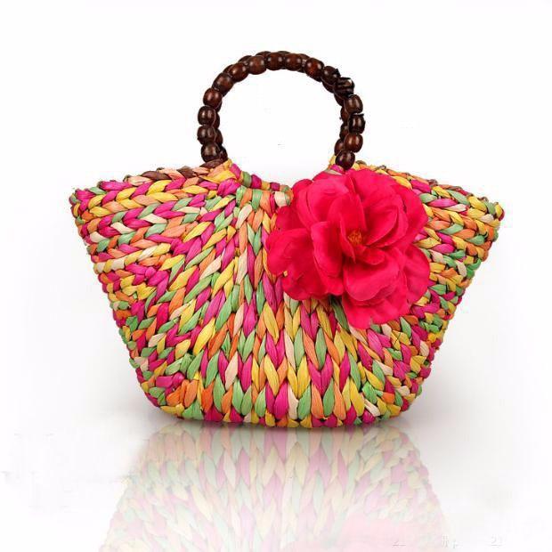 Boho Colorful Floral Women Straw Bag Weaving Ladies Summer Beach Bag Party Handbag Handmade Rattan Shoulder Bags