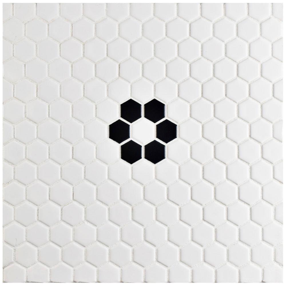Merola Tile Metro Hex Matte White with Single Flower 10-1 ...