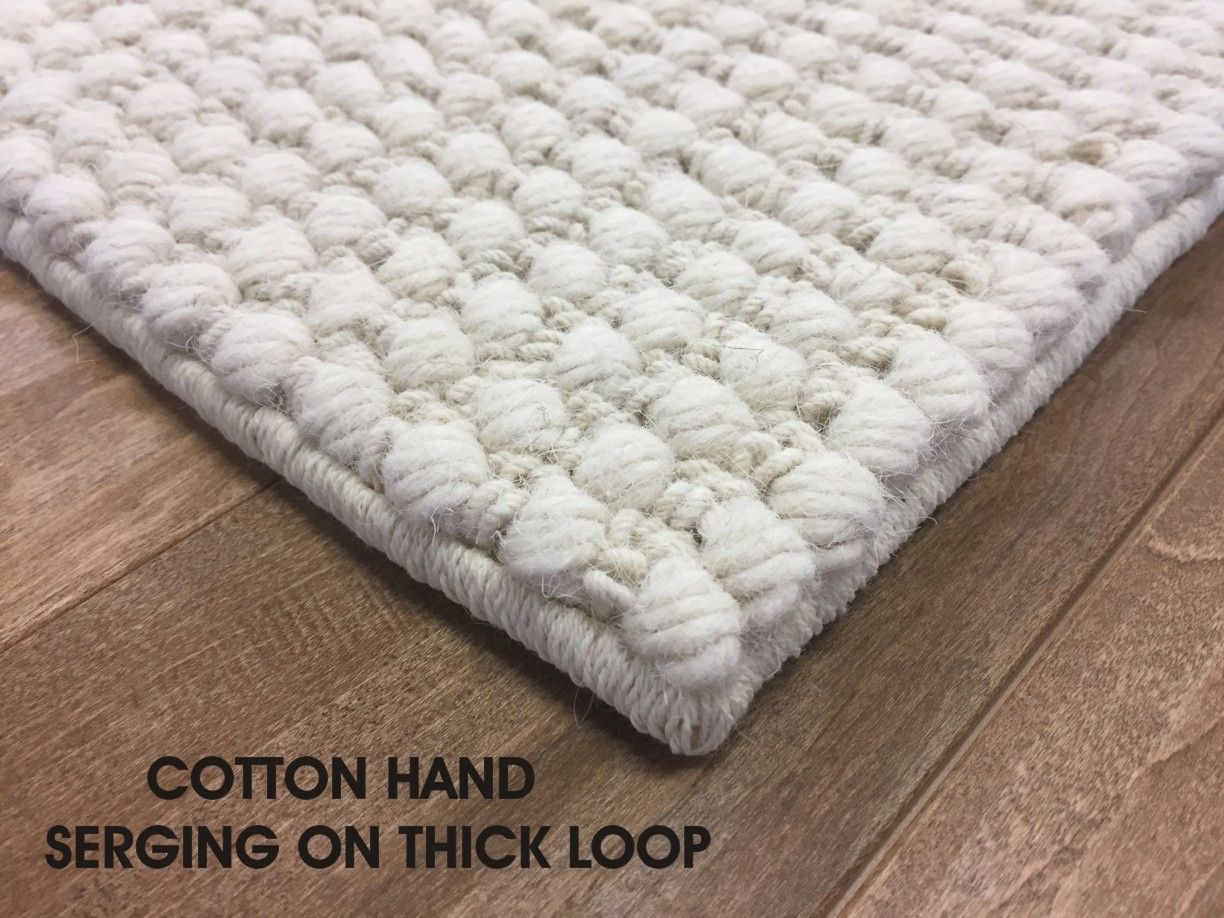 Cotton Hand Serged Edges On Thick Looped Area Rug