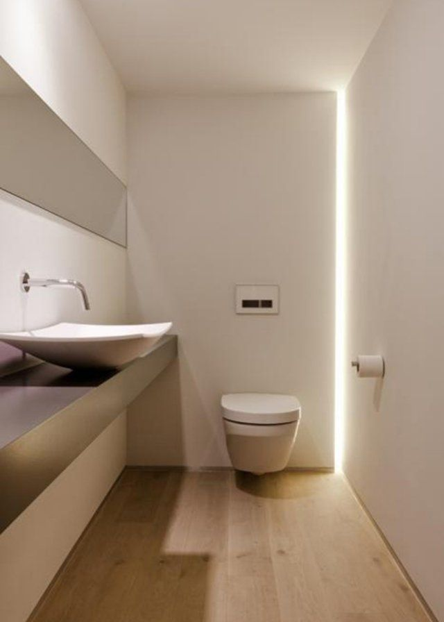 une bande lumineuse de led dans les toilettes marie claire maison les toilettes et marie claire. Black Bedroom Furniture Sets. Home Design Ideas