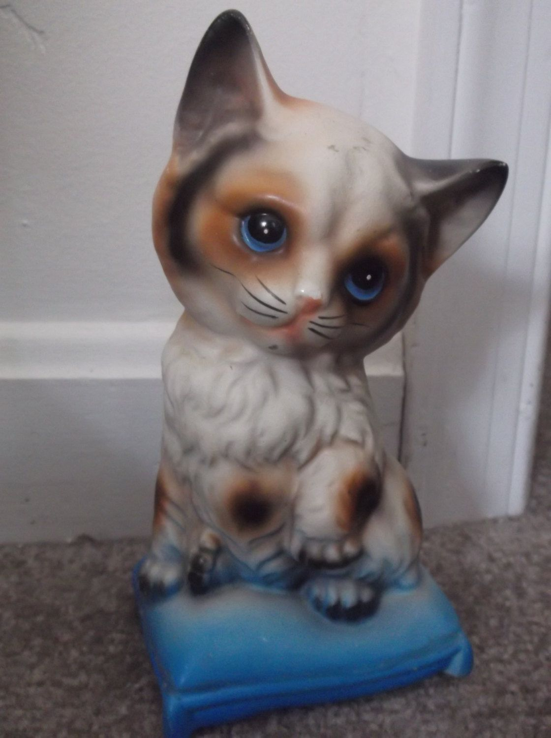 Cat Bank Figurine Blue Eyes Sitting On Basket Made In