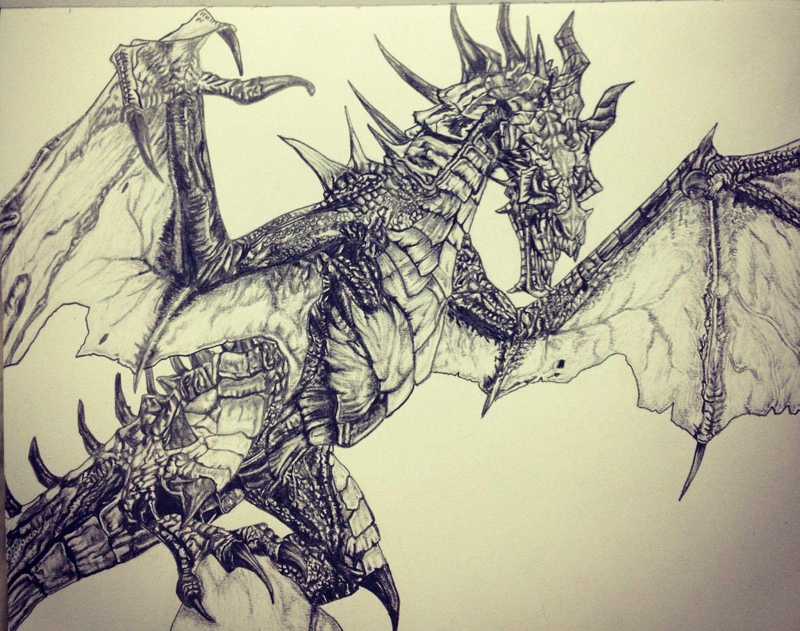 Картинки драконов из скайрима карандашом