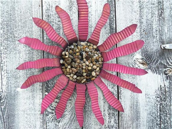 Metal flower from recycled tin can by rustinrose on etsy for Large tin can crafts
