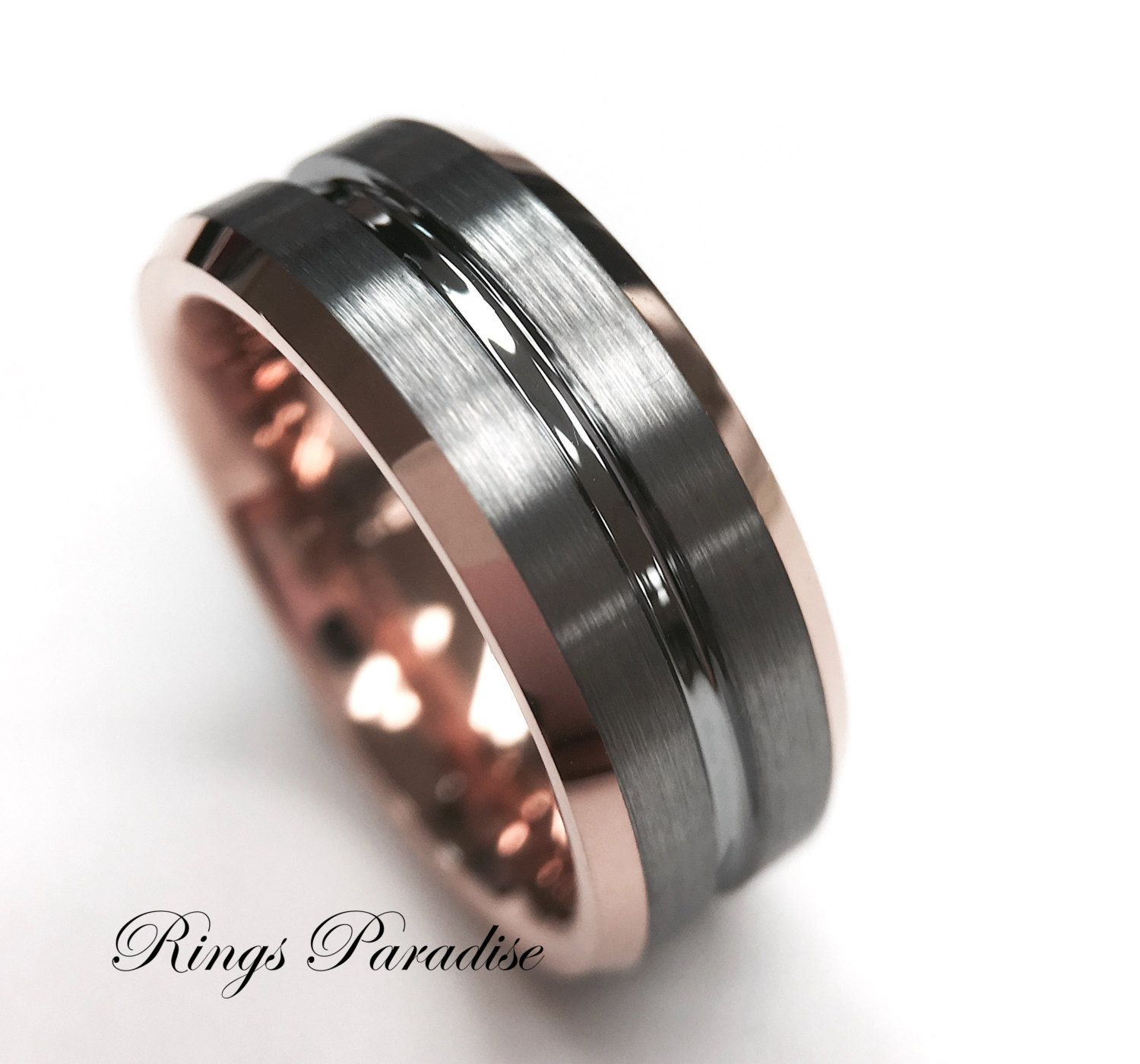 Mens Tungsten Ring Rose Gold Wedding Band Engagement Rings