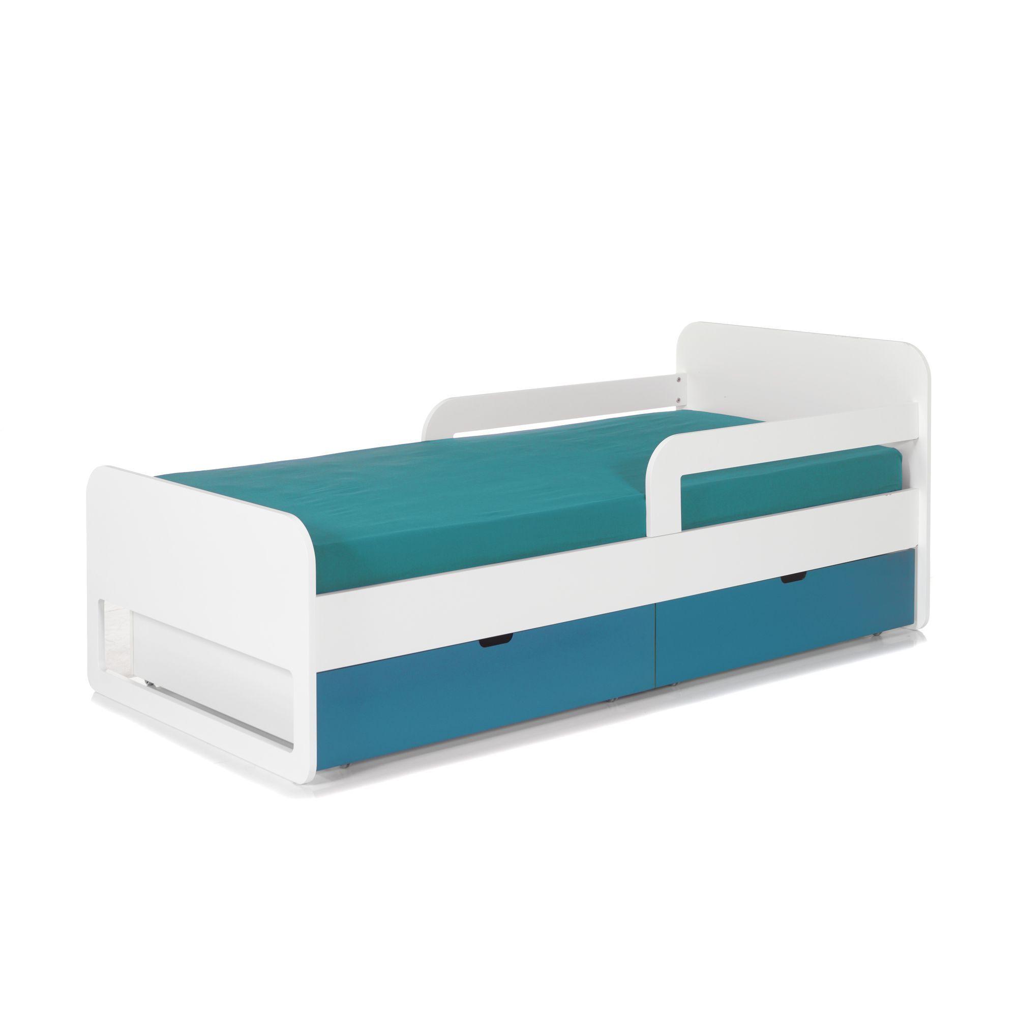 lit pour enfant avec barrires et tiroirs de rangement blanc bleu noa les - Alinea Lit Enfant