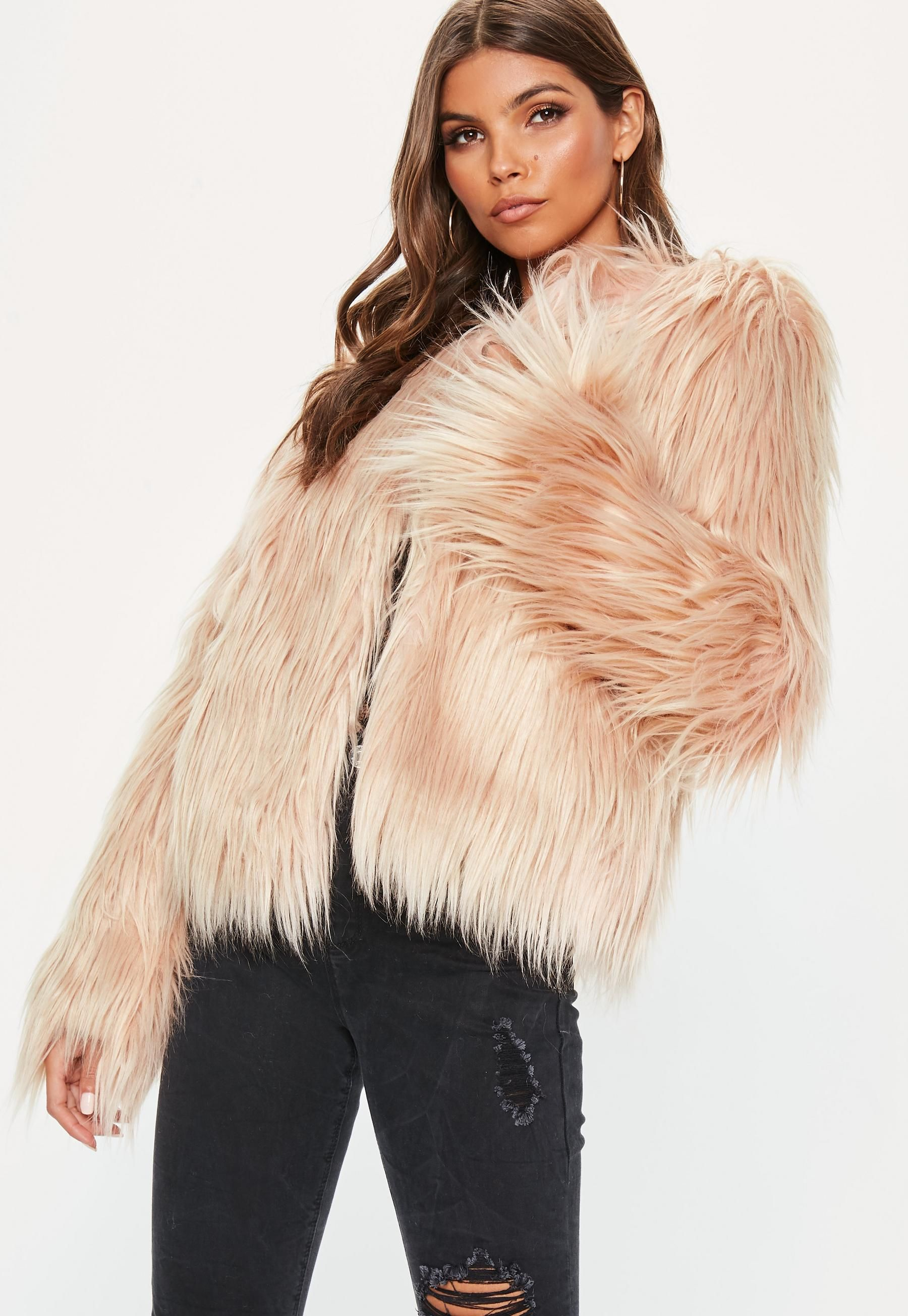 7d0c2fbfe02d Nude Shaggy Faux Fur Coat in 2019 | Going Out Outfits ✨ | Coat ...