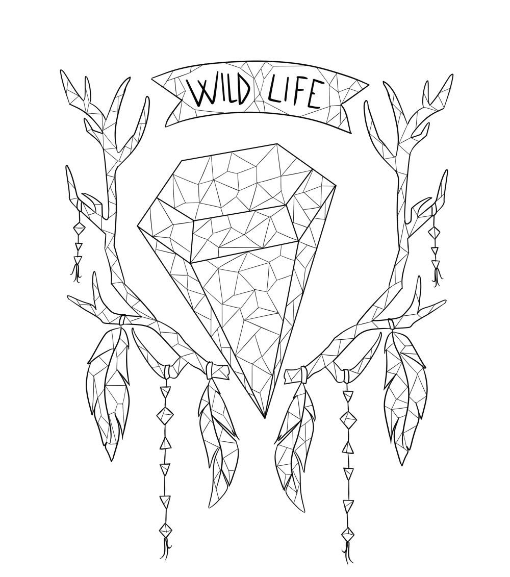 Adult Coloring Page Boho Coloring Page Deer Crystals Adult