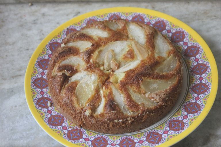 Poached Champagne Pears & Cardamom Cake | Cardamom cake