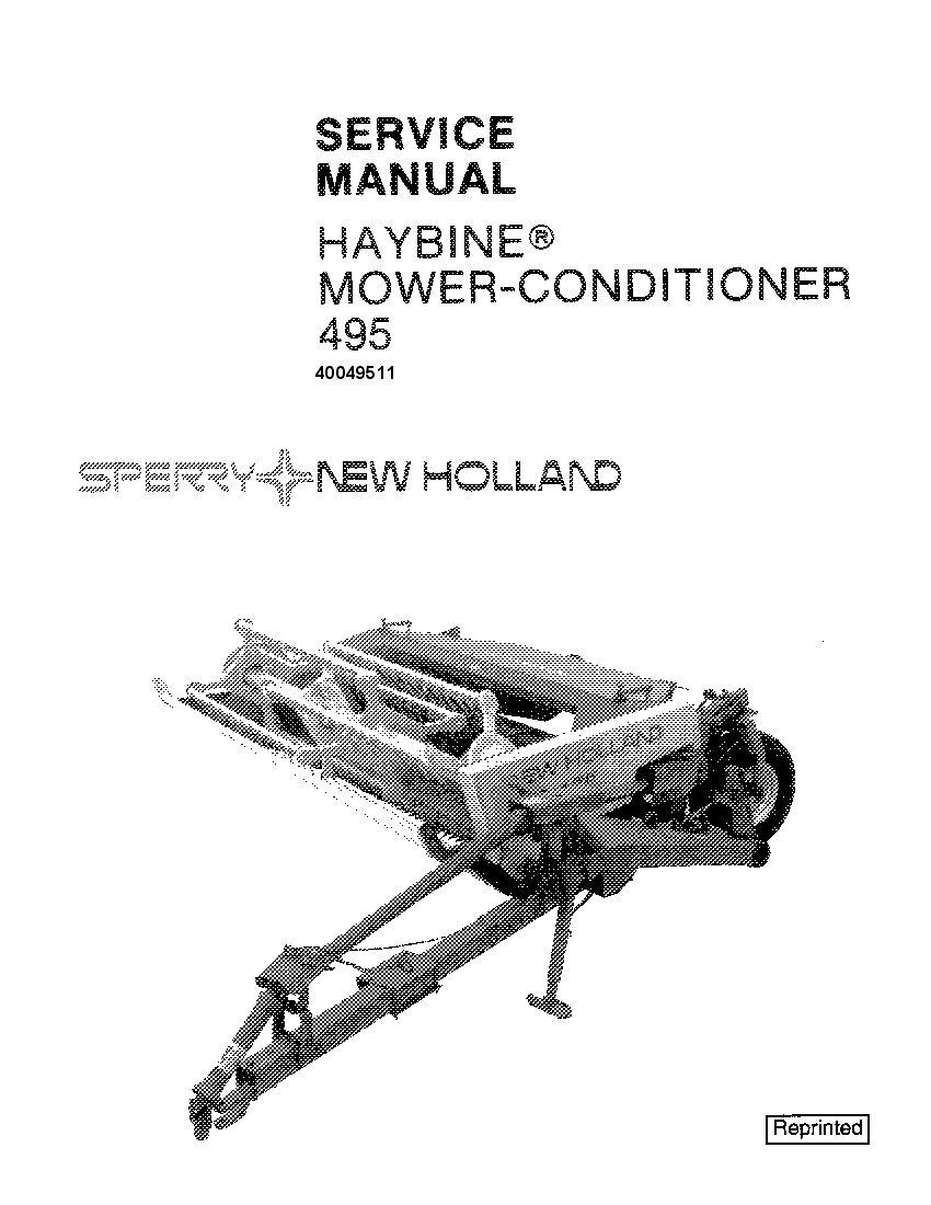 New Holland 495 Haybine Mower Conditioner Workshop Repair