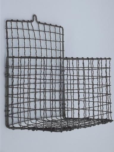 Antique Wirework Crimped Wire Wall Pocket Hanging Basket 1920s