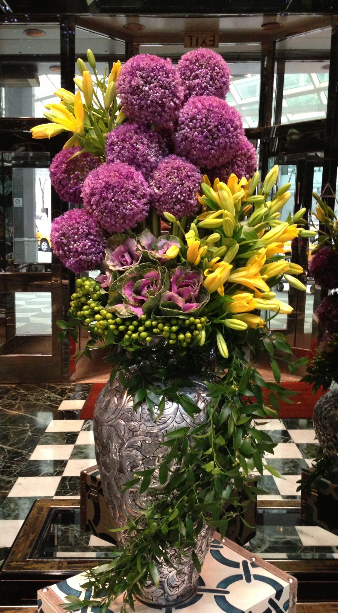 Purple Pom Chrysanthemums And Yellow Iris Type Flowers Stunning