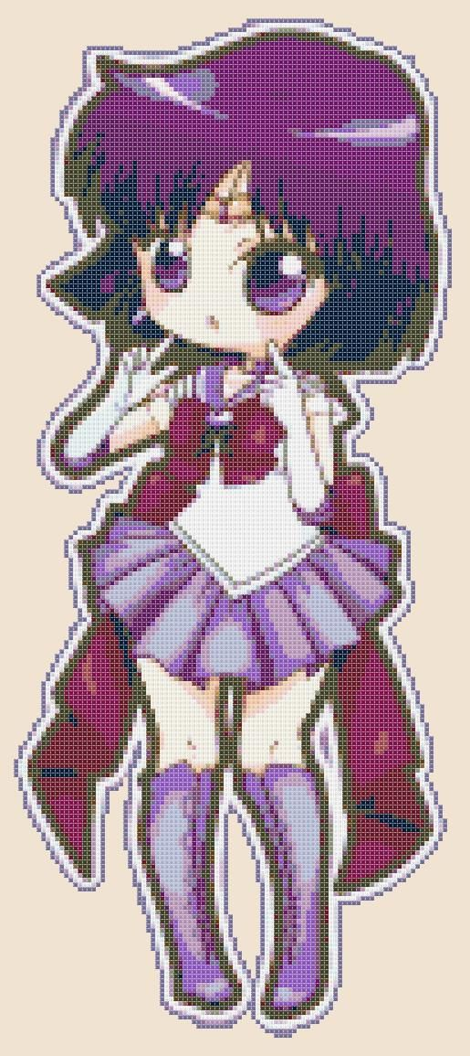 Chibi Sailor Saturn - pdf cross stitch pattern istant download - schema a punto croce formato pdf scaricabile