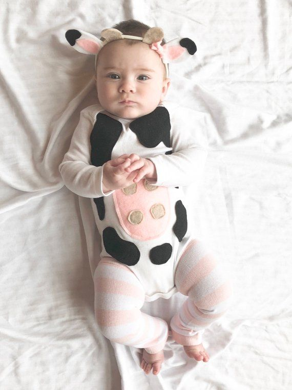 Baby Girl Halloween Cow Costume Outfit With A Stretchy