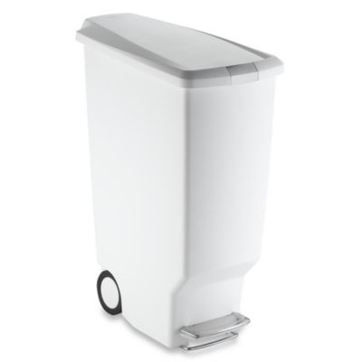 Simplehuman® Slim Plastic 40 Liter Step On Trash Can In White    BedBathandBeyond