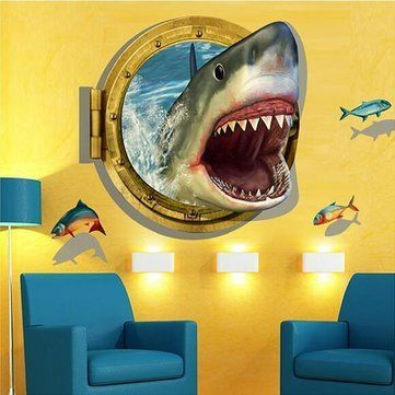 $19.91 - 3D 60X90Cm Diy Shark Porthole Mural Decal Sea Cruise Wall ...