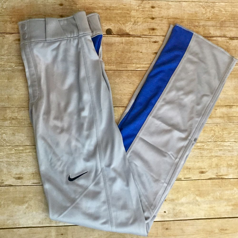 NEW NIKE Mens S Baseball Uniform Pants Vapor 1.0 DRI-FIT Grey Blue Long Unhemmed  | eBay