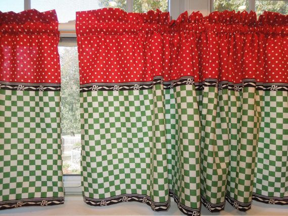 Retro Kitchen Curtains, 1950s Diner Style, Four Panels, Red, Green, Black  And White, Cafe Look
