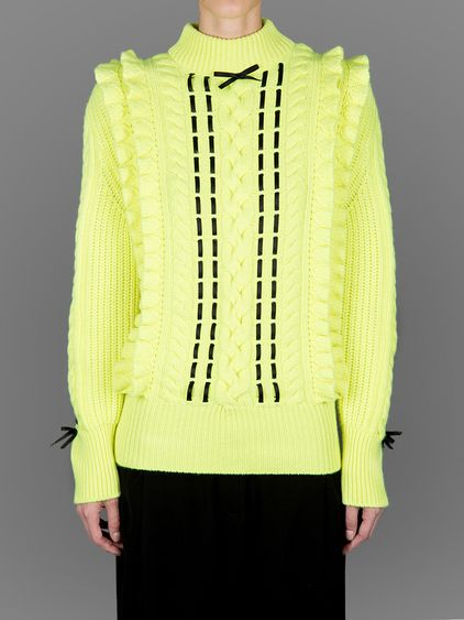 CHRISTOPHER KANE TURTLE NECK KNITWEAR WITH ROUCHES DETAILS.