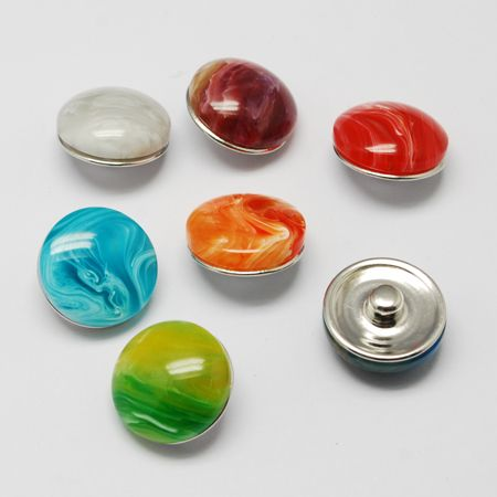 Legierung Druckknöpfen, mit Harzkügelchen, Stück Tasten, Flachrund, Mischfarbe, 18x9~11 mm; Knopf: 5 mm