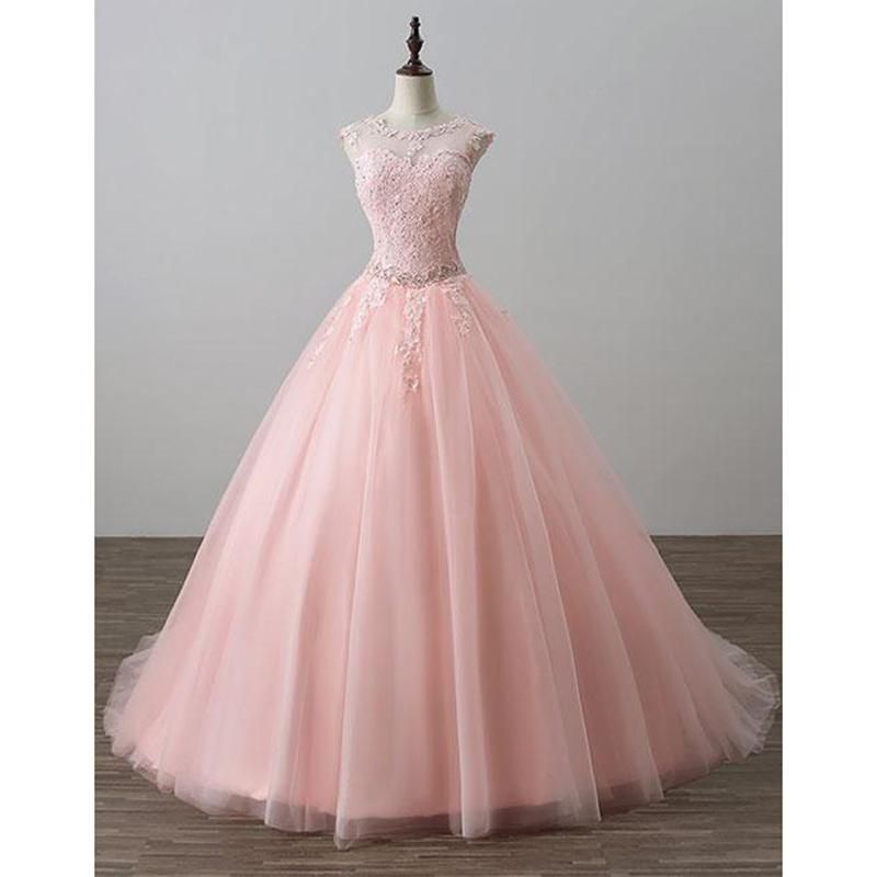 bf005544a5 Blush Pink Ball Gown Prom Dresses Lace Girls Sweet 16 Quinceanera Dresses  Debutante Gown