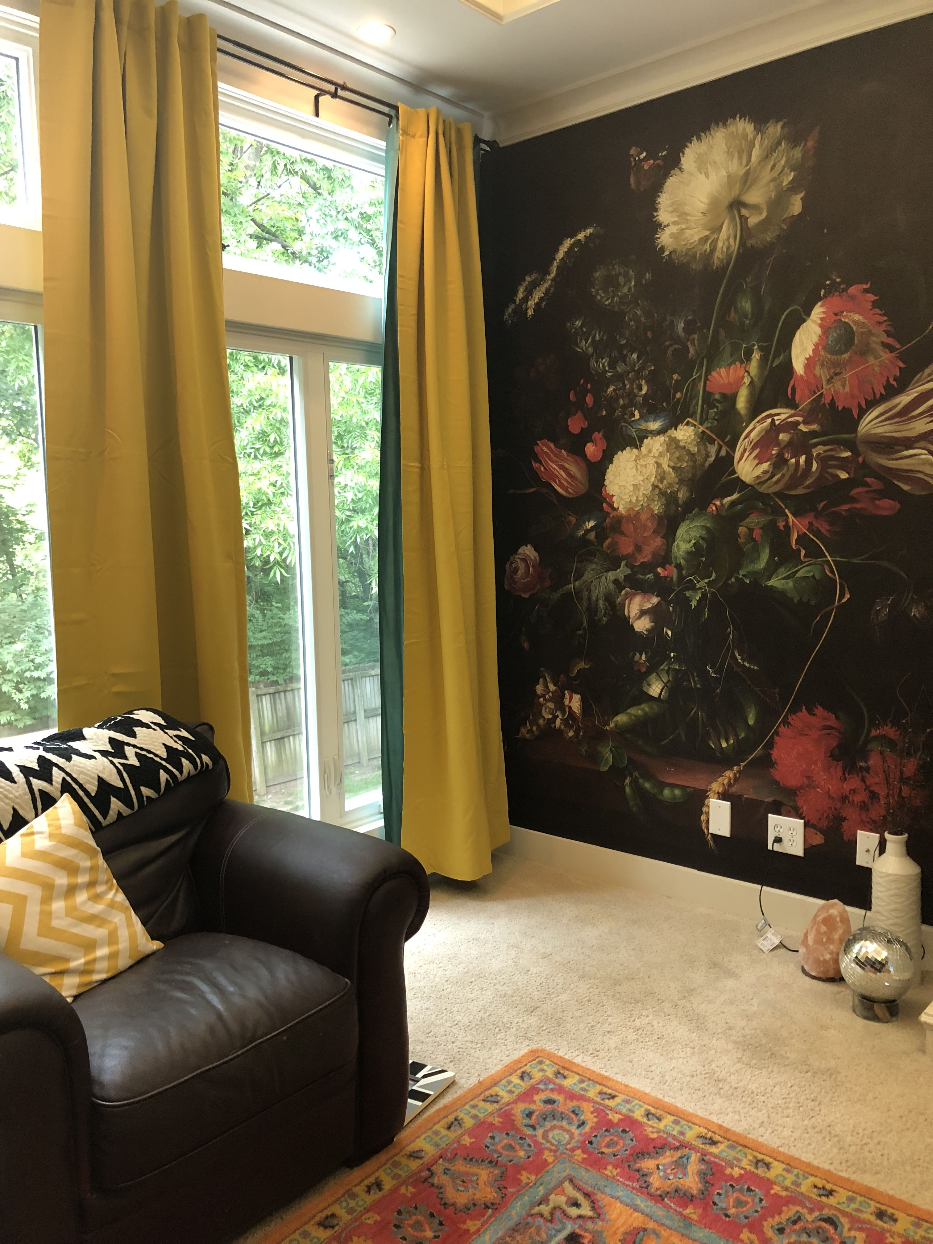 Living Room Revamp #Darkfloral #Yellowcurtains #Wayfair #Wallpaper