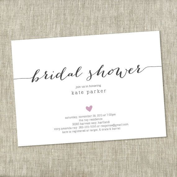 Bridal Shower Invite Heart Simple Modern Customizable Printable Diy The Chambray Bunny