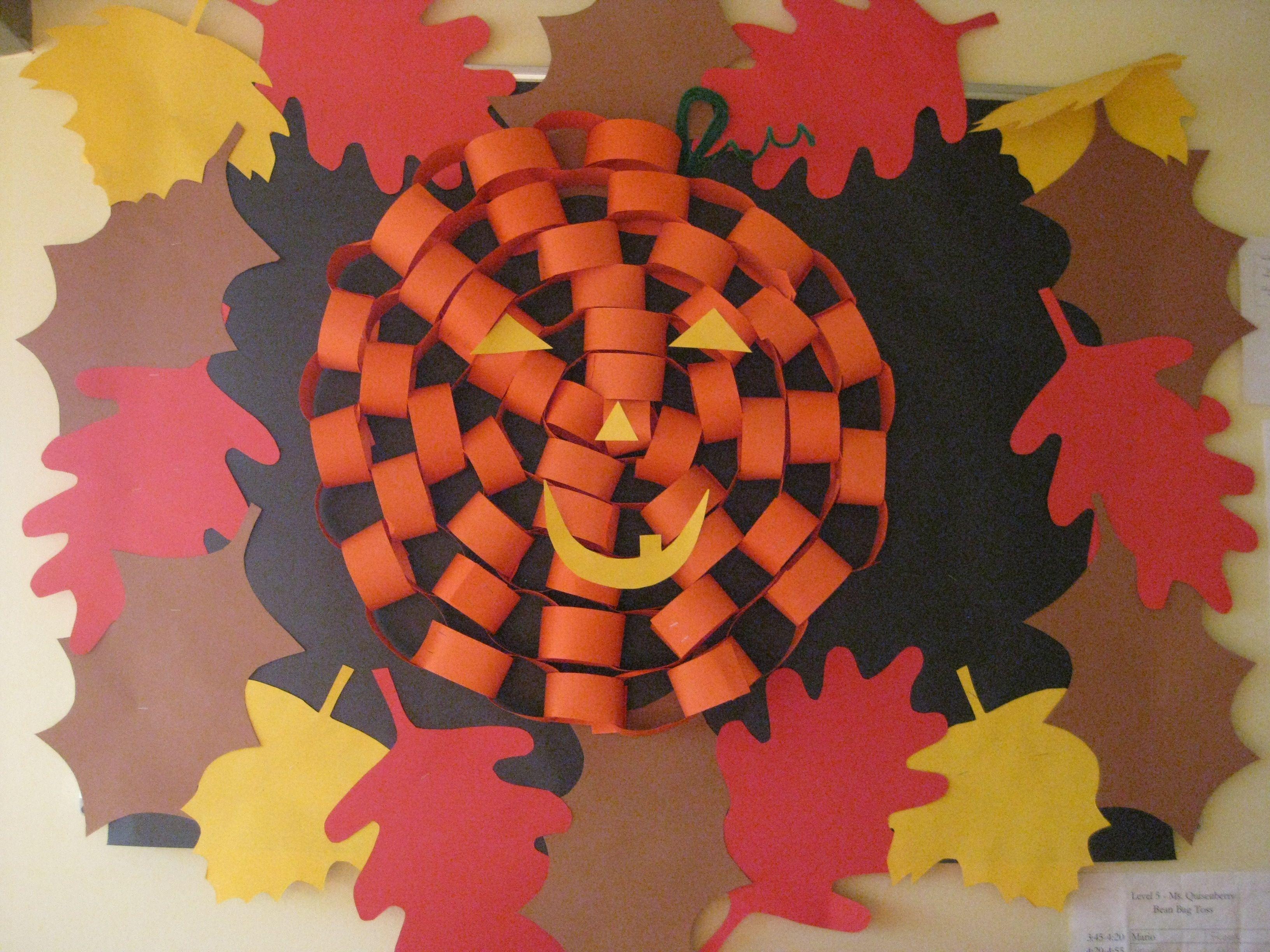 cool bulletin board idea for halloween orange construction paper