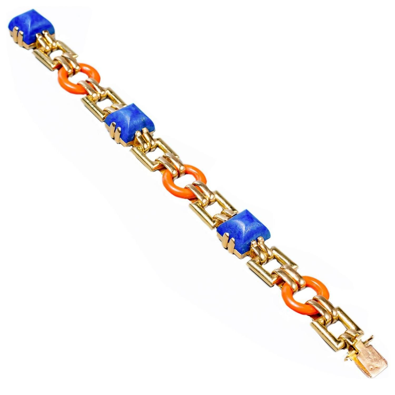 Cartier Rare Art Deco Coral Lapis Gold Link Bracelet | From a unique collection of vintage more bracelets at https://www.1stdibs.com/jewelry/bracelets/more-bracelets/