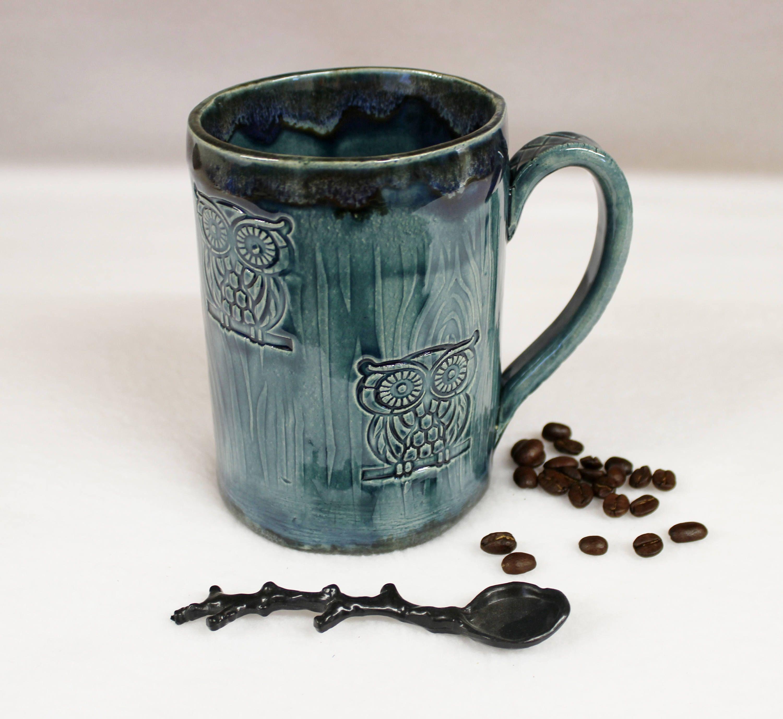 Extra Large Forest Owl Coffee Mug, Handmade Ceramic Mug by