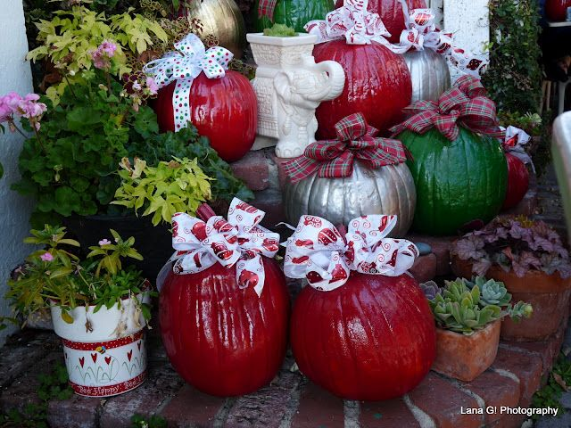 Another picture of the Pumpkins turned Christmas Ornaments.