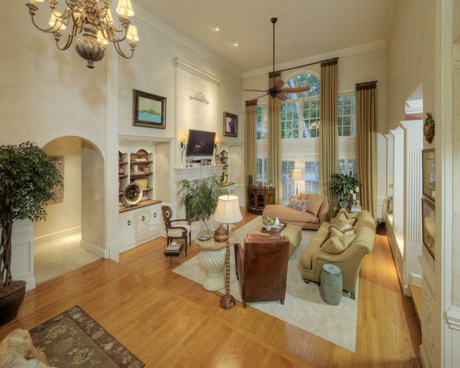 window treatments for two storey rooms | traditional family room ...