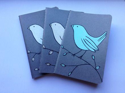 Moleskine cahier dipinto a mano  uccellino