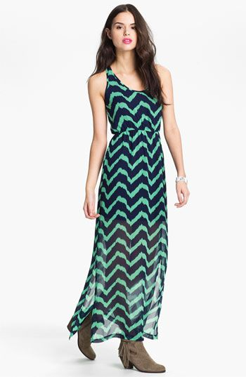 Dee Elle Keyhole Back Print Chiffon Maxi Dress (Juniors) available at #Nordstrom
