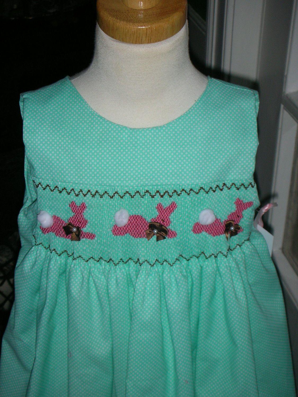 Aqua dot Mary De handsmocked dress with pink bunnies - ready to ship size 4T. $70.00, via Etsy.