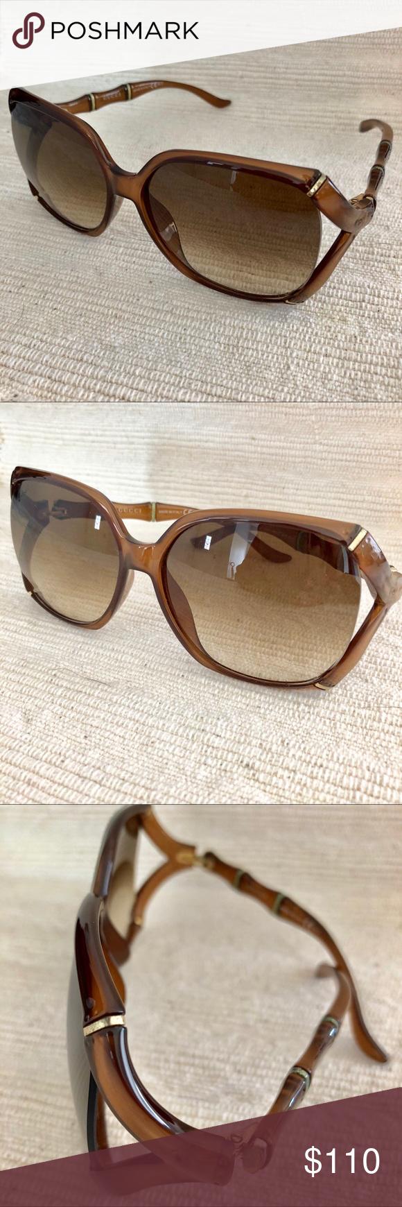 00f617e967104 Gucci Bamboo Square Sunglasses Brown Gucci Sunglasses GG 3508 S • glasses  are in good condition