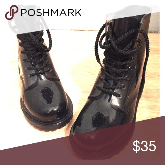 Women's combats boots Black, rain boot material combat boots. Super comfortable. Never been worn. Made by Chinese Laundry. Chinese Laundry Shoes Combat & Moto Boots