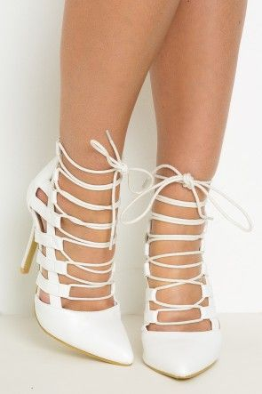Tie The Knot Lace Up Heels White | Lasula Boutique Lusts ...