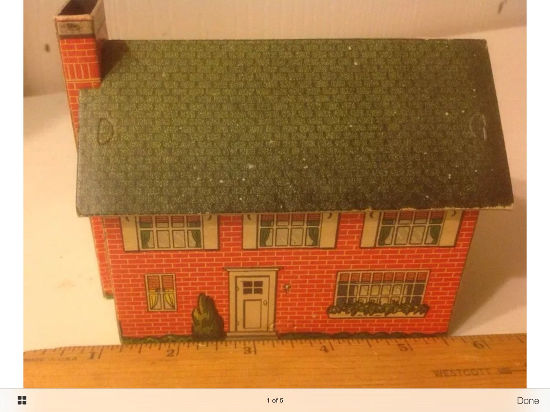 HO Vintage Circa 1940's 2 Story House Built Cardboard Model Train