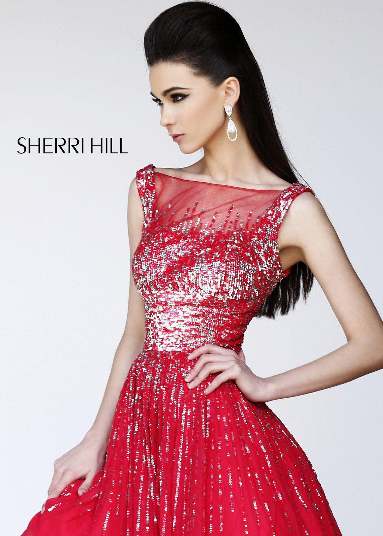 Sherri Hill 8519 - Red Sequin Short Prom Dresses Online ...