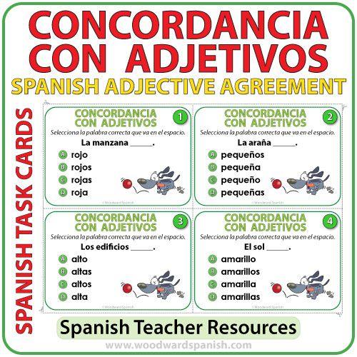 Spanish Adjective Agreement Task Cards Spanish Adjectives
