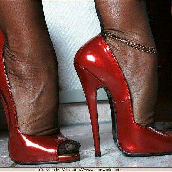 Pin on realy high heels and nylons